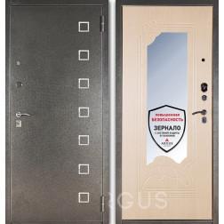 Входная дверь с зеркалом Аргус ДА-8 Даллас (Серебро антик / Беленый дуб)