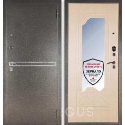 Входная дверь с зеркалом Аргус ДА-8 Франк (Серебро антик / Беленый дуб)