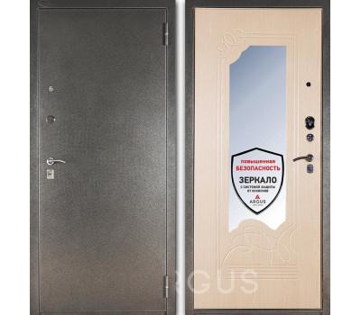 Входная металлическая дверь с зеркалом Аргус ДА-8 (Серебро антик / Беленый дуб)