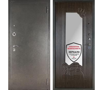 Входная металлическая сейф дверь с зеркалом Аргус ДА-6 (Серебро антик / Венге)