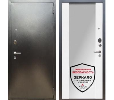 Входная металлическая дверь Аргус Люкс ПРО Вояж Милли с Зеркалом (Серебро антик / Белое дерево)