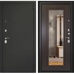 Входная дверь Дверной Континент Сити 3К с Зеркалом (Серый графит / Венге)