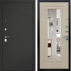 Входная дверь Дверной Континент Сити 3К с Зеркалом (Серый графит / Дуб беленый)