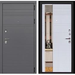 Входная металлическая дверь ДК Новелло 3К с Зеркалом (Графит софт / Альберо браш)