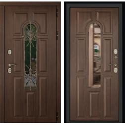 Уличная входная дверь ДК Лион 3К с окном и ковкой (Орех тёмный / Орех тёмный)