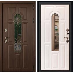 Уличная входная дверь ДК Лион 3К с окном и ковкой (Орех тёмный / Альберо браш)