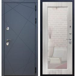 Входная дверь Армада 13 с Зеркалом Пастораль (Графит софт / Сандал белый)