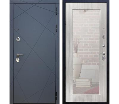 Входная металлическая дверь Армада 13 с Зеркалом Пастораль (Графит софт / Сандал белый)