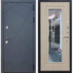 Входная металлическая дверь Армада 13 с Зеркалом (Графит софт / Беленый дуб)