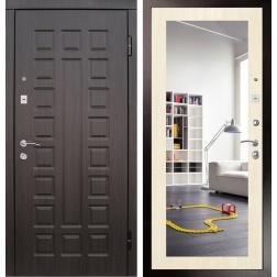 Входная дверь Райтвер Сенатор с зеркалом (Венге / Дуб беленый)