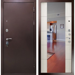Входная дверь Кондор Президент с зеркалом (Медный антик / Меланж светлый)