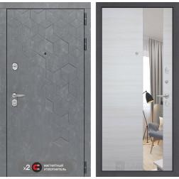 Входная дверь Лабиринт Бетон Зеркало (Бетон песочный / Акация светлая)