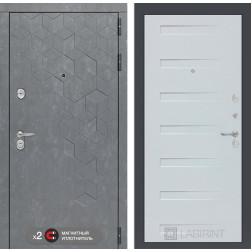 Входная дверь Лабиринт Бетон 14 (Бетон песочный / Дуб кантри белый)