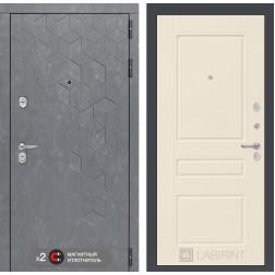 Входная металлическая дверь Лабиринт Бетон 3 (Бетон песочный / Крем софт)