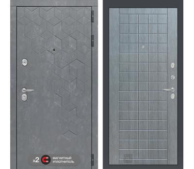 Входная металлическая дверь Лабиринт Бетон 9 (Бетон песочный / Лен сильвер грей)