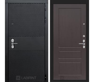 Входная металлическая дверь Лабиринт Black 3 (Чёрный кварц / Орех премиум)
