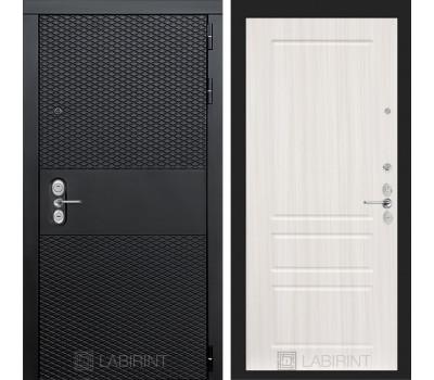 Входная металлическая дверь Лабиринт Black 3 (Чёрный кварц / Сандал белый)