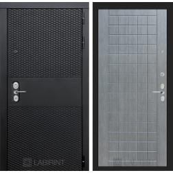 Входная металлическая дверь Лабиринт Black 9 (Чёрный кварц / Лен сильвер грей)