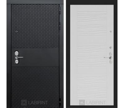 Входная металлическая дверь Лабиринт Black 6 (Чёрный кварц / Белое дерево)