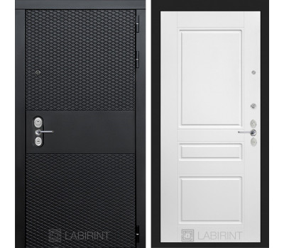 Входная металлическая дверь Лабиринт Black 3 (Чёрный кварц / Белый софт)