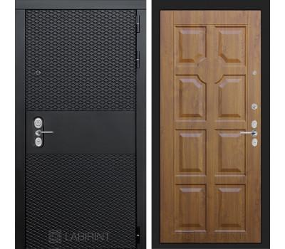 Входная металлическая дверь Лабиринт Black 17 (Чёрный кварц / Золотой дуб)
