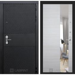 Входная металлическая дверь Лабиринт Black Зеркало (Чёрный кварц / Акация светлая)