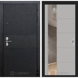 Входная металлическая дверь Лабиринт Black 19 Зеркало (Чёрный кварц / Грей софт)