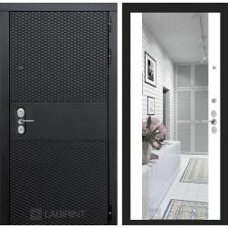 Входная металлическая дверь Лабиринт Black Зеркало Максимум (Чёрный кварц / Белый софт)