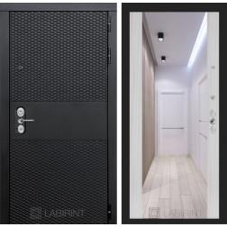 Входная металлическая дверь Лабиринт Black Зеркало Максимум (Чёрный кварц / Сандал белый)