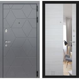 Входная металлическая дверь Лабиринт Cosmo Зеркало (Графит / Акация светлая)