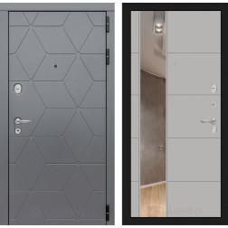 Входная металлическая дверь Лабиринт Cosmo 19 Зеркало (Графит / Грей софт)