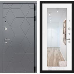 Входная металлическая дверь Лабиринт Cosmo 18 Зеркало (Графит / Белое дерево)