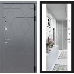Входная металлическая дверь Лабиринт Cosmo Зеркало Максимум (Графит / Белый софт)