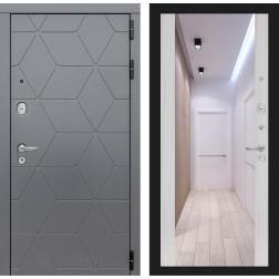 Входная металлическая дверь Лабиринт Cosmo Зеркало Максимум (Графит / Сандал белый)
