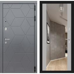 Входная металлическая дверь Лабиринт Cosmo Зеркало Максимум (Графит / Софт Грей)