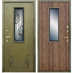 Входная уличная дверь АСД с окном и ковкой (Антик Золото / Дуб старый)