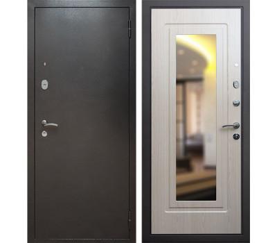 Входная металлическая дверь Армада 2 с зеркалом (Антик серебро / Дуб белёный)