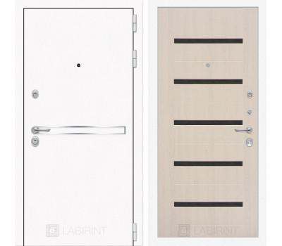 Входная металлическая дверь Лабиринт Line White 1 (Шагрень белая / Дуб беленый)