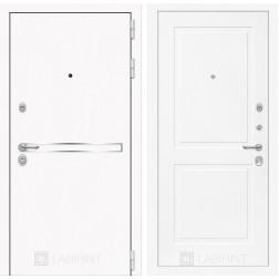 Входная дверь Лабиринт Line White 11 (Шагрень белая / Белый софт)
