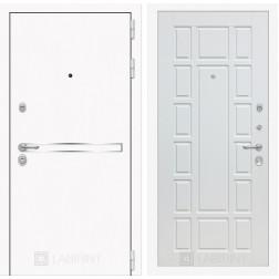 Входная дверь Лабиринт Line White 12 (Шагрень белая / Белое дерево)