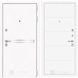 Входная дверь Лабиринт Line White 13 (Шагрень белая / Белый софт)