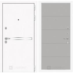 Входная металлическая дверь Лабиринт Line White 13 (Шагрень белая / Грей софт)