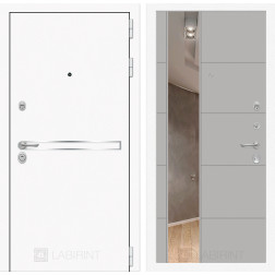 Входная дверь Лабиринт Line White 19 Зеркало (Шагрень белая / Грей софт)