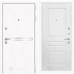 Входная дверь Лабиринт Line White 3 (Шагрень белая / Белый софт)