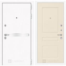 Входная металлическая дверь Лабиринт Line White 3 (Шагрень белая / Крем софт)