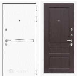 Входная дверь Лабиринт Line White 3 (Шагрень белая / Орех премиум)
