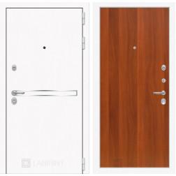 Входная дверь Лабиринт Line White 5 (Шагрень белая / Итальянский орех)
