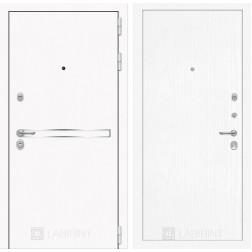 Входная дверь Лабиринт Line White 7 (Шагрень белая / Белое дерево)