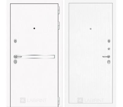 Входная металлическая дверь Лабиринт Line White 7 (Шагрень белая / Белое дерево)