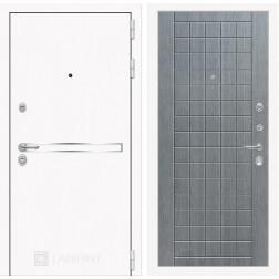 Входная дверь Лабиринт Line White 9 (Шагрень белая / Лен сильвер грей)